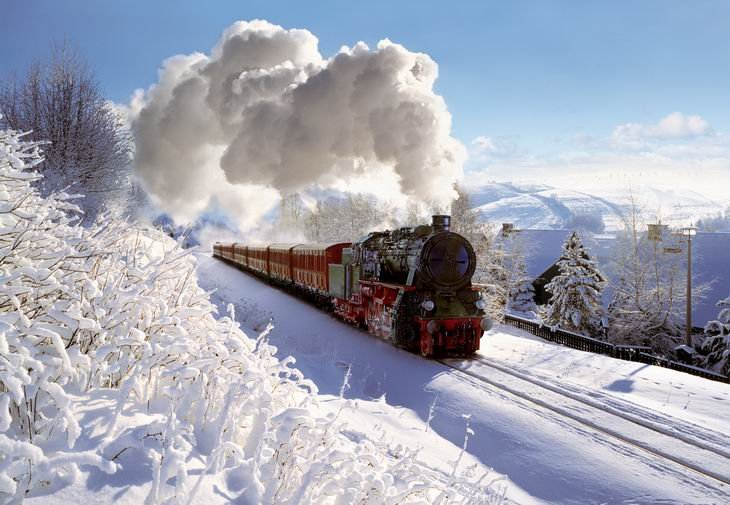 1000 pieces jigsaw puzzle by castorland, steam railway in winter steamrailwayinwinter
