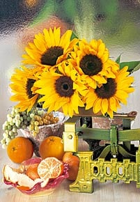 1000 pieces jigsaw puzzle by castorland, sunflowers sunflower