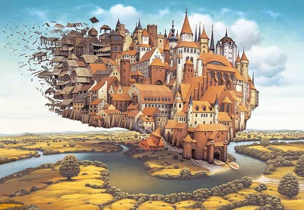 1000 pieces jigsaw puzzle by castorland, Flying Town by jacek yerka flyingtown