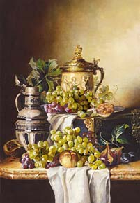 1000 pieces jigsaw puzzle by castorland, quiet life with grapes and jugs quietlifewithgrapesandjugs