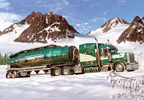 1000 pieces jigsaw puzzle by castorland, tank truck in the winter tanktruckinthewinter