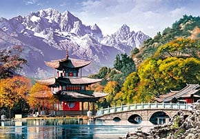 1000 pieces jigsaw puzzle by castorland, pagoda at the black dragon pond china pagodaattheblackdragonpond
