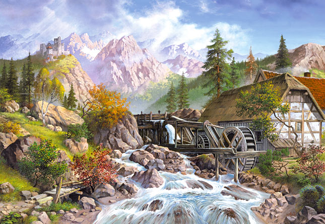 1000 pieces jigsaw puzzle by castorland, athabasca falls jasper national park watermill-puzzel