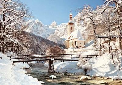ramsau germany, nature winter scene, 1500 pieces castorland jigsaw puzzle ramsau