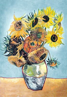 sunflowers by vincent van gogh, castorland jigsaw puzzle 1500 pieces sunflowers