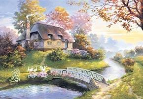 1500 puzzle, cottage painting, jigsaw puzzle by castorland cottage1500piecesjigsawpuzzle