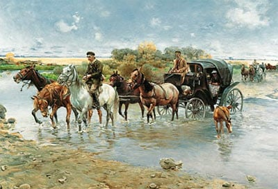 the river crossing by wierusz-kowalski, castorland 2000 pieces jigsaw therivercrossing