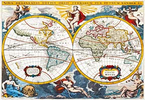 world map early 18th century by pieter vander, painting, jigsaw puzzle, worldmap