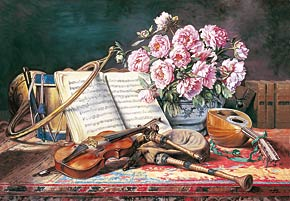 a musical still life by charles antoine j. loyeux, castorland jigsaw puzzle 2000 pieces amusicalstilllife