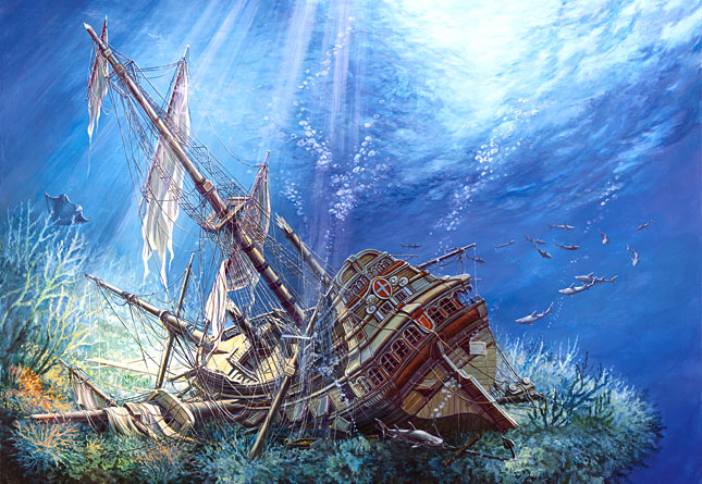 2000 pieces jigsaw puzzle by castorland, sunk galleon ship in the ocean sunk-galleon