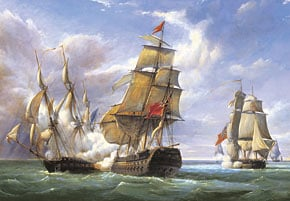 castorland, 3000 pieces jigsaw puzzle, french frigate and english vessel battle combat, painting, ji lacanonnierevsthetremendous