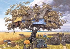 2d jigsaw puzzle by castorland, return from safari painting by jacek yerka, surreal image, 3000 piec returnfromsafari