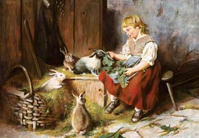 feeding the rabbits by felix schlesinger, 3000 pieces castorland jigsaw puzzle feedingtherabbits