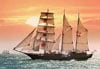 1000 pieces jigsaw puzzle by castorland, sailing ship in the sunset