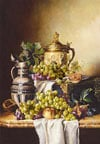 quietlifewithgrapesandjugs,1000 pieces jigsaw puzzle by castorland, quiet life with grapes and jugs