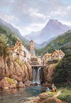 1500 puzzle, vue de kanderstein, tyrol by charles e. kuwasseg, castorland