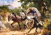 coveredwagoninanarrowpath,castorland rudolf koller painting, 3000 pieces, jigsaw puzzle