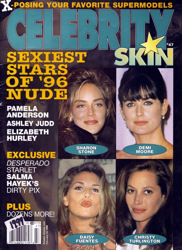 Celebrity Skin # 47 magazine back issue Celebrity Skin magizine back copy exposing your favorite supermodels, sexiest stars of 1996 nude, celebrity skin back issues, collecto