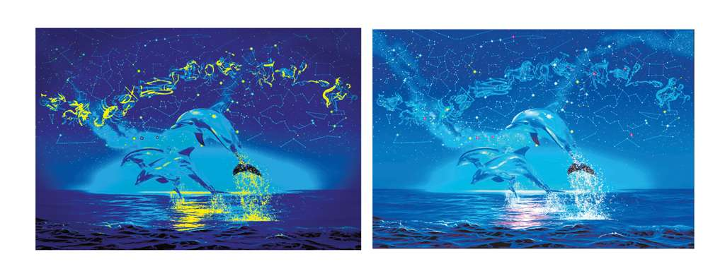 clementoni jigsaw puzzle, 1000 pieces, painting of dolphins under the zodiac by christian risse lass zodiac-dolphins-fluorescent