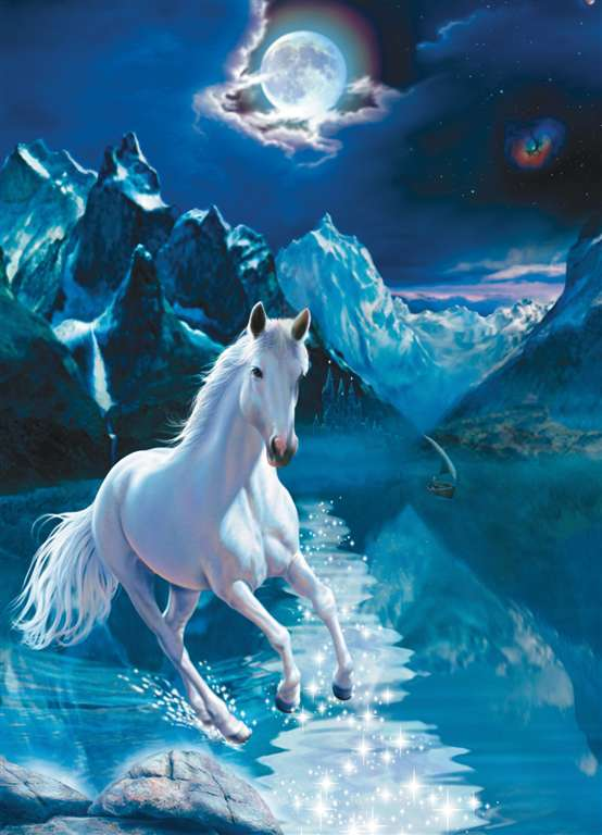1000 Piece Jigsaw Puzzle ClementoniPuzzles White Stallion photographic fantasy fluorescent image white-stallion-fluorescent