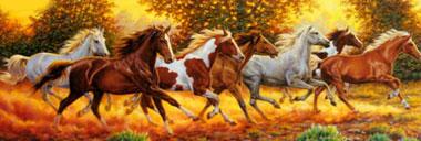 Running Horses Panoramic View Jigsaw Puzzle made by Clementnoi JigsawPuzzles # 313006 runninghorsespanoramicview