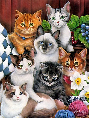 Cuddley Kittens Jigsaw Puzzle painted by Jenny Newland & made by Clementoni- High Quality Collection cuddlykittens