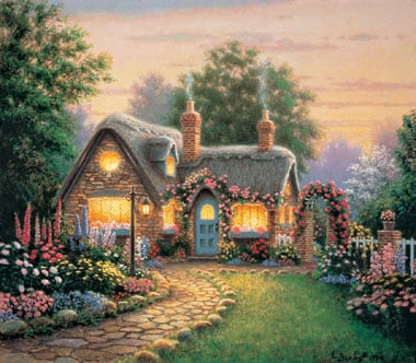 clementoni jigsaw puzzle, richard burns artwork cottage at sunset, 1000pieces puzzle cottageatsunset