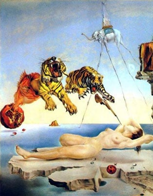 Dream Caused by the Flight of a Bumblebee around a Pomegranate a Second Before Awakening, salvador d onesecondbefore