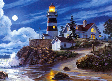 JamesHimsworth painter Moonlight Lighthouse jigsaw puzzle clementoni 1500 Pieces # 319299 moonlitlighthouse