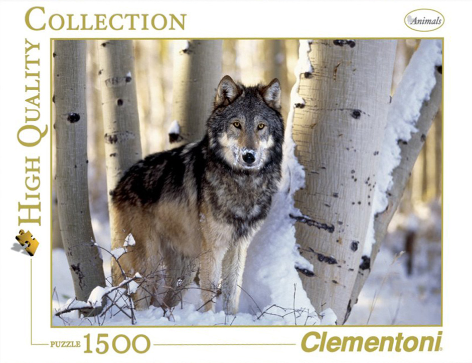 1500 Piece Jigsaw Puzzle Clementoni Puzzles The Wolf photographic fantasy fluorescent image wolf-winter-hunting