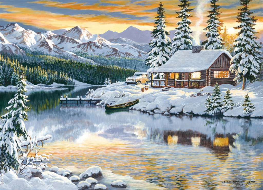 piersis clayton weirs paiunter 1000 jigsawpuzzle clementoni cabin on the river painting cabin-on-the-river