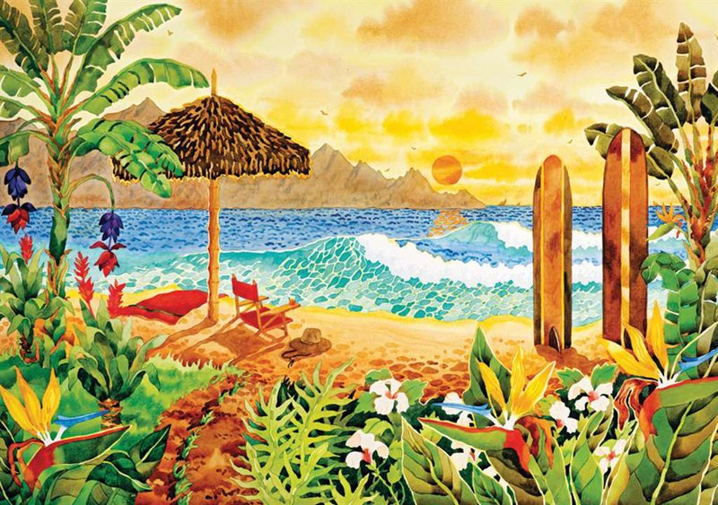 clementoni jigsaw puzzle, robin altman artwork surfing the islands, 1500pieces puzzle surfing-the-islands