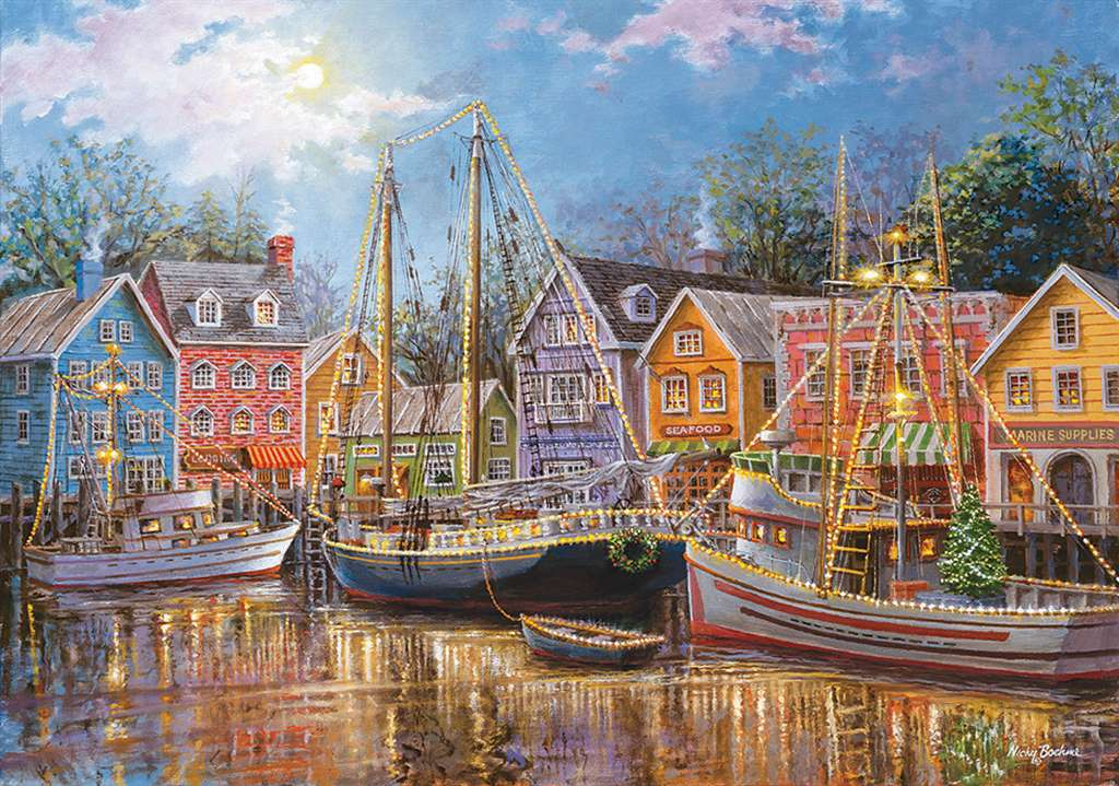 Nicky Boehme Artist sailing in the village clementoni puzzle # 31995 puzzel sailing-in-the-village