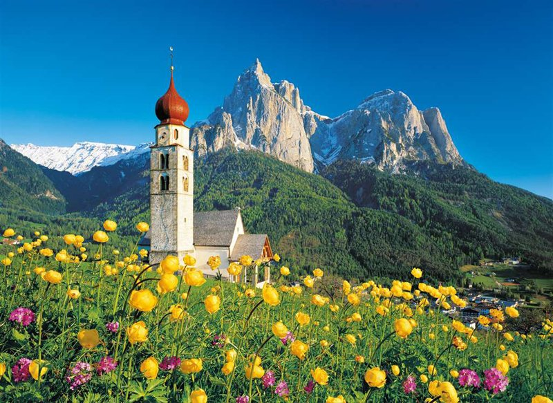 Sud Tirolo, Church Saint Velentin jigsaw puzzle clementoni 1500 Pieces # 319978 sud-tirolo-church-velentin
