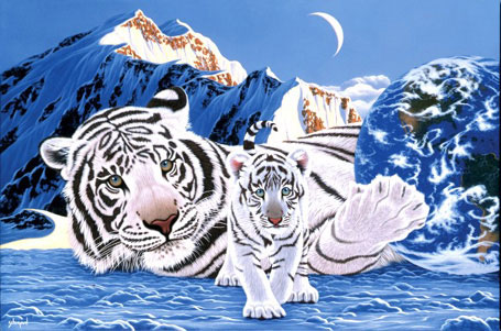 jigsaw puzzle by clementoni 2000 pieces, schim artist, white tiger puzzle mothermountains