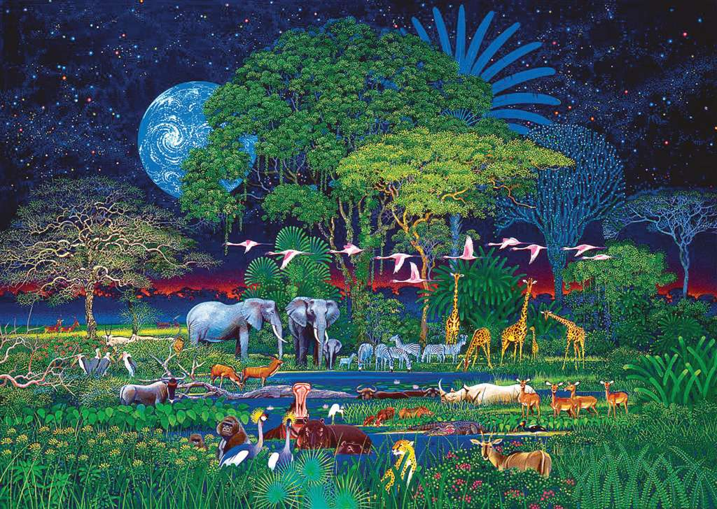 Clementoni JigsawPuzzle 2000 pieces Animals in the Jungle beautiful colors painting Hiroo Isono animals-jungle