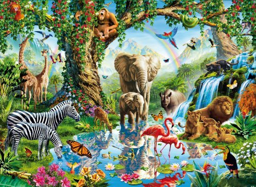 Clementoni JigsawPuzzle 2000 pieces Animals in Jungle Lake beautiful colors painting Adrian Chesterm jungle-lake