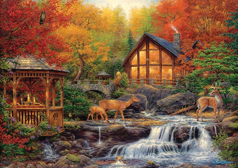 clementoni jigsaw puzzle, chuck pinson artwork cottage in autumn, 3000 pieces puzzle autumn-clementoni-3000