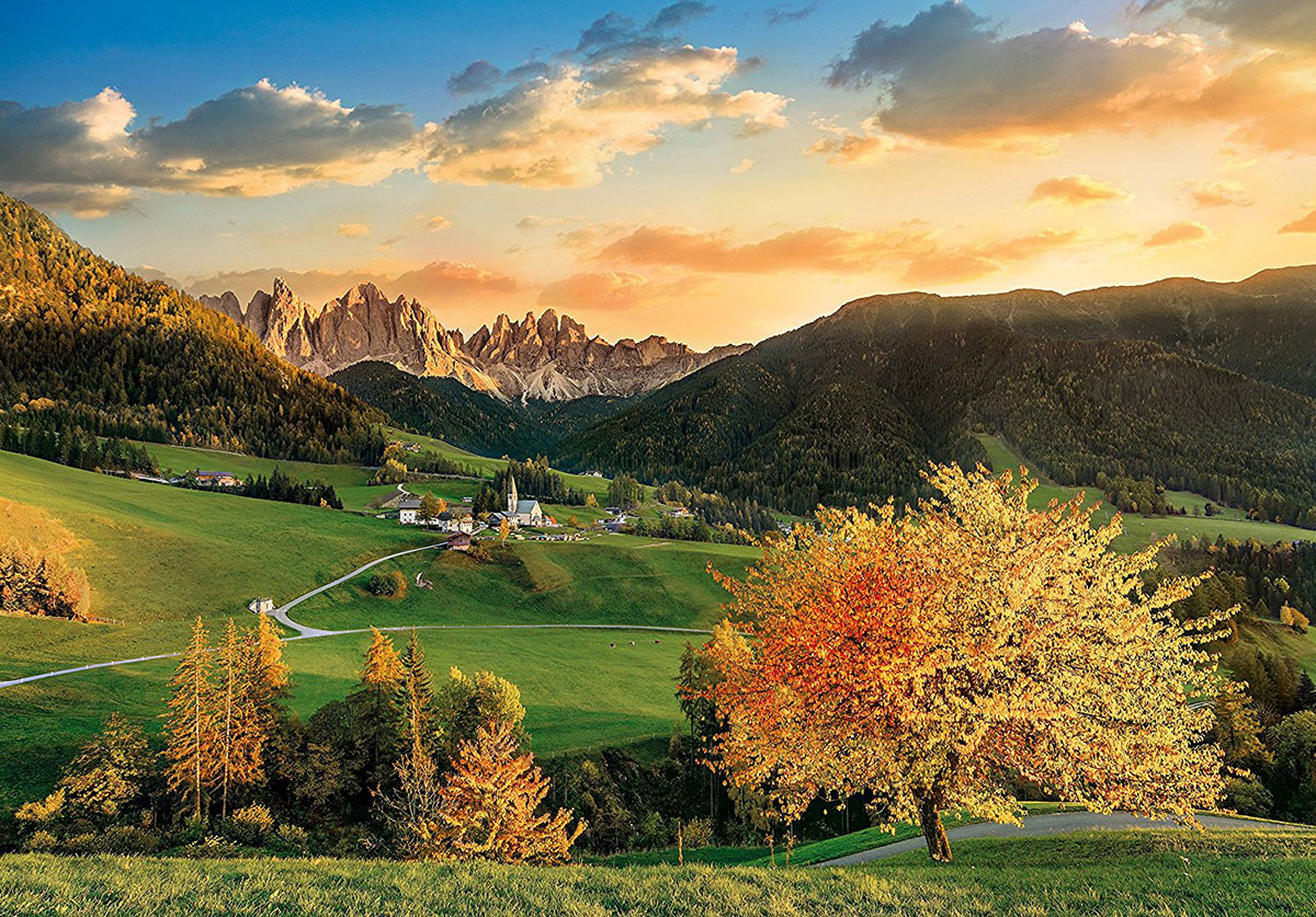 italy dolomite mountain range in autumn photo for ravensburger 3000 piece jigsaw puzzel santa-maddalena