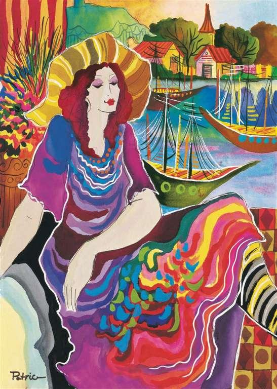 Pat Govezensky woman on a seascape art deco as 1000 Piece Puzzle by RavensburgerJigsawPuzzles woman-on-a-seascape