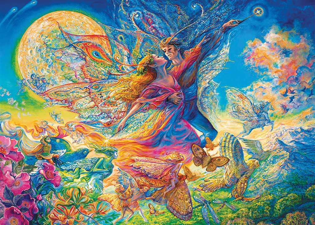clementoni jigsaw puzzle, 1000 pieces, painting of titania and oberon by josephine wall titania-oberon-fluorescent