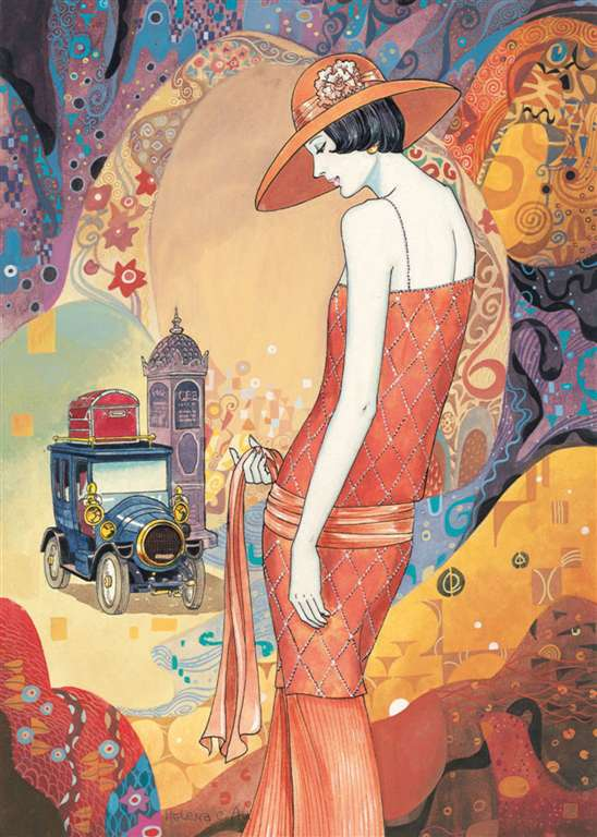 helena lam lady in peach art deco as 1000 Piece Puzzle by RavensburgerJigsawPuzzles lady-in-peach-art-deco