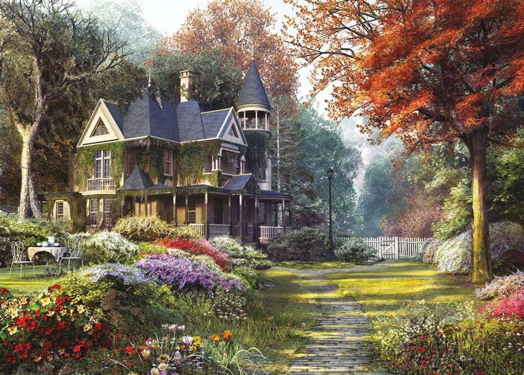 victorian garden painting by Dominic Davison 1000 Piece Jigsaw Puzzle Made by Clementoni # 39172 victorian-garden
