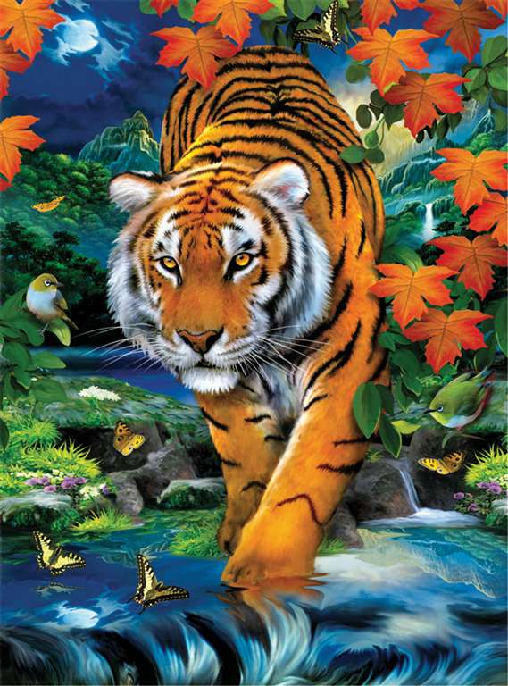clementoni jigsaw puzzle, 1000 pieces, paintin of a tiger on the prowl by howard robinson clemen on-the-prowl