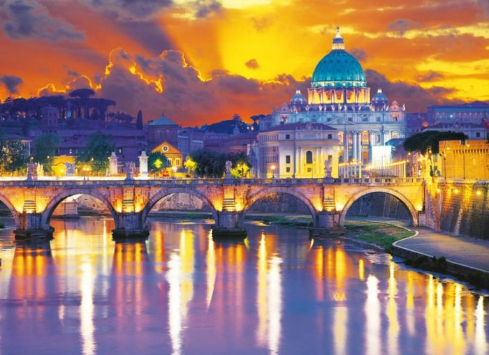 Rome, Sant'Angelo Bridge and St Peters Basilica, 1000 Piece Jigsaw Puzzle # 39198 made by Clementoni rome-sant-angelo-bridge