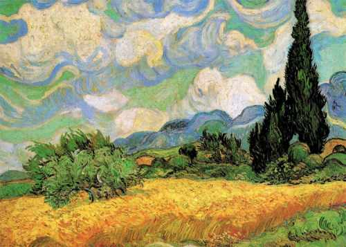 van goghs wheat field with cypresses, clementoni 1000 pieces jigsaw puzzle clementoni wheat-field-with-cypresses-van-gogh