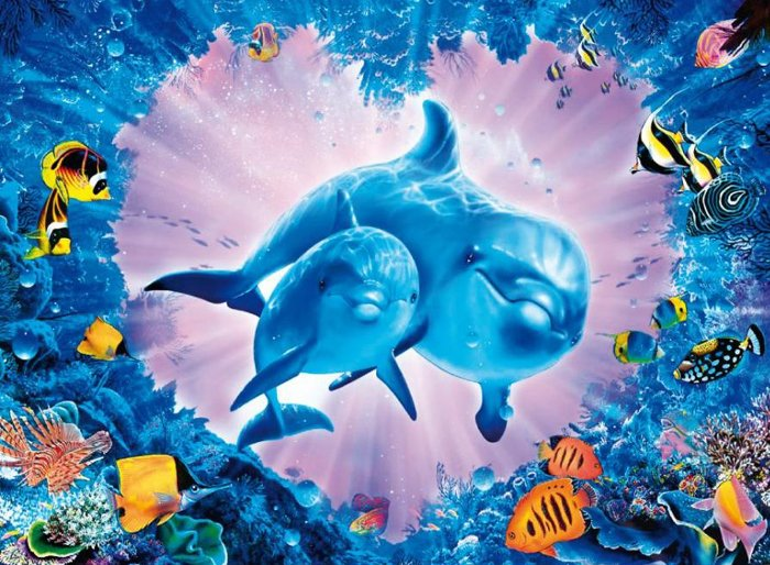 clementoni jigsaw puzzle, 1000 pieces, painting of a dolphin love reef by christian reese lassen cle love-reef-christian-riese-lassen