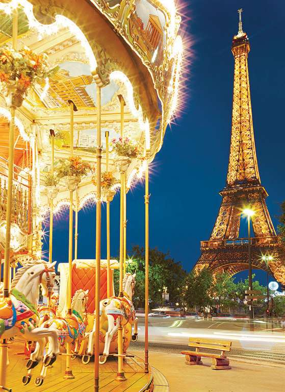 carousel eiffel tower paris jigsaw puzzle, clementoni, 1000 pieces # 39228 carousel-paris-eiffel-tower