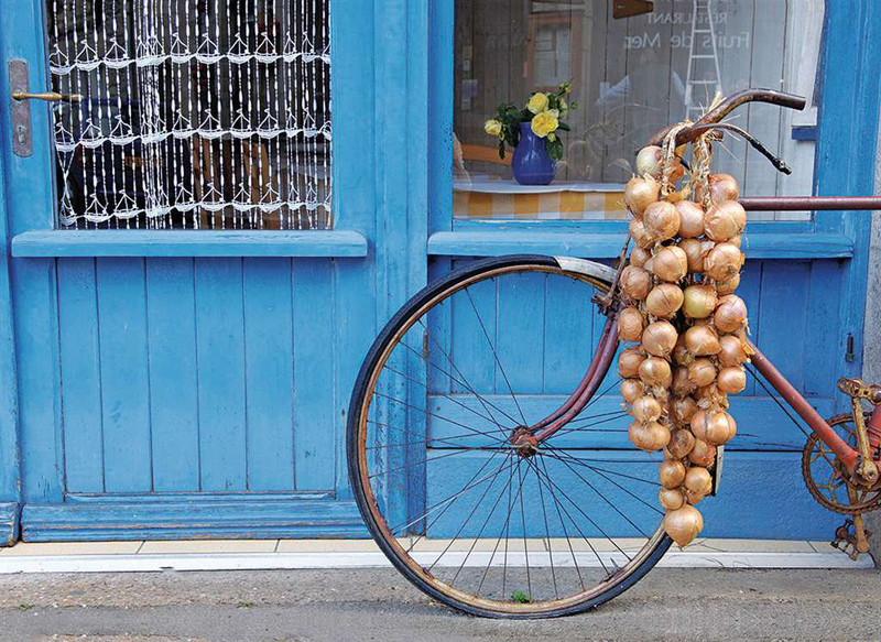 jigsaw puzzle en france bicycle beside blue house with bag of onions 1000p ieces beautiful clementoi en-france