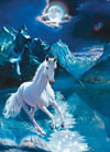 white-stallion-fluorescent,1000 Piece Jigsaw Puzzle ClementoniPuzzles White Stallion photographic fantasy fluorescent image